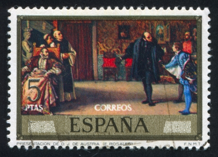 libertine: SPAIN - CIRCA 1974: stamp printed by Spain, shows Presentation of Don Juan de Austria (Eduardo Rosales), circa 1974