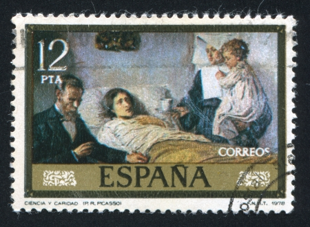 ruiz: SPAIN - CIRCA 1978: stamp printed by Spain, shows Science and Charity (Pablo Ruiz Picasso), circa 1978 Editorial