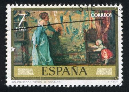 SPAIN - CIRCA 1974: stamp printed by Spain, shows The first steps (Eduardo Rosales), circa 1974