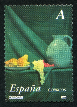 SPAIN - CIRCA 2004: stamp printed by Spain, shows Pitcher and Fruit, circa 2004