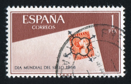 SPAIN - CIRCA 1966: stamp printed by Spain, shows Stamp day, circa 1966 Stock Photo - 16285005
