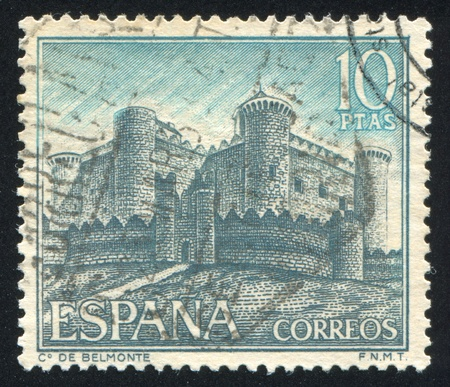 SPAIN - CIRCA 1967: stamp printed by Spain, shows Castle de Belmonte, circa 1967 Stock Photo - 16285117
