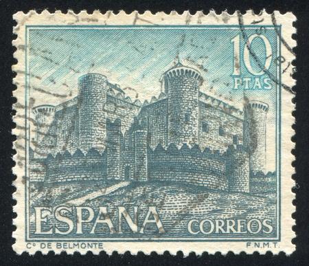 SPAIN - CIRCA 1967: stamp printed by Spain, shows Castle de Belmonte, circa 1967 Stock Photo - 16285117