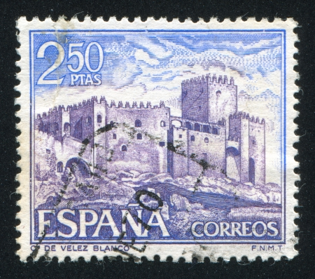 SPAIN - CIRCA 1969: stamp printed by Spain, shows Castle Velez Blanco, circa 1969 Stock Photo - 16285431