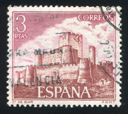 SPAIN - CIRCA 1972: stamp printed by Spain, shows Medieval Castle, Biar, circa 1972 Stock Photo - 16285111