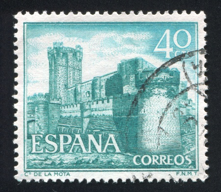 SPAIN - CIRCA 1966: stamp printed by Spain, shows Castle La Mota, circa 1966 Stock Photo - 16285094
