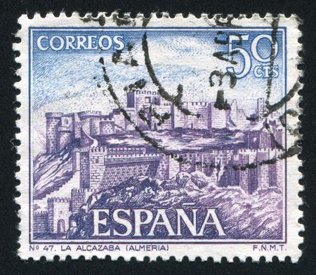 SPAIN - CIRCA 1970: stamp printed by Spain, shows Castle Alcazaba, circa 1970 Stock Photo - 16285419