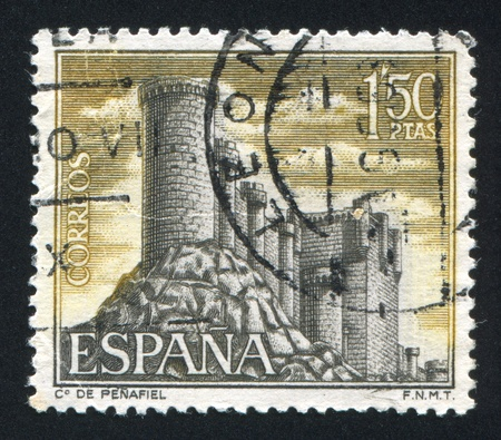 SPAIN - CIRCA 1968: stamp printed by Spain, shows Castle Penafiel, Valladolid, circa 1968 Stock Photo - 16285305