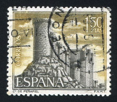 window seal: SPAIN - CIRCA 1968: stamp printed by Spain, shows Castle Penafiel, Valladolid, circa 1968