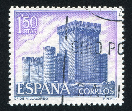 SPAIN - CIRCA 1969: stamp printed by Spain, shows Castle Villalonso, circa 1969 Stock Photo - 16285347