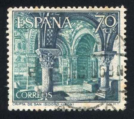 crypt: SPAIN - CIRCA 1964: stamp printed by Spain, shows San Isidro Crypt, circa 1964