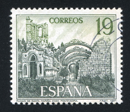 SPAIN - CIRCA 1987: stamp printed by Spain, shows Santa Maria ruins Dozo, circa 1987 Stock Photo - 16285476