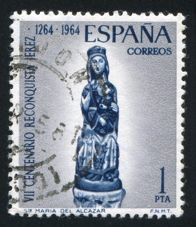 adoration: SPAIN - CIRCA 1964: stamp printed by Spain, shows St Maria Del Alcazar, circa 1964