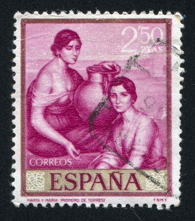 martha: SPAIN - CIRCA 1965: stamp printed by Spain, shows picture of Martha and Mary, circa 1965