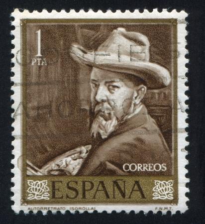 joaquin: SPAIN - CIRCA 1964: stamp printed by Spain, shows self-portrait of Joaquin Sorolla, circa 1964