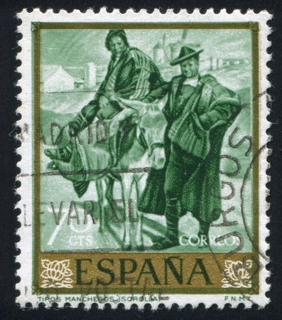 sorolla: SPAIN - CIRCA 1964: stamp printed by Spain, shows picture of Man and Woman from La Mancha, circa 1964 Editorial