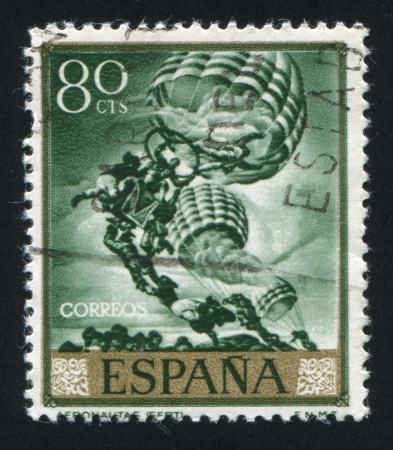 SPAIN - CIRCA 1966: stamp printed by Spain, shows picture of Parashutists, circa 1966