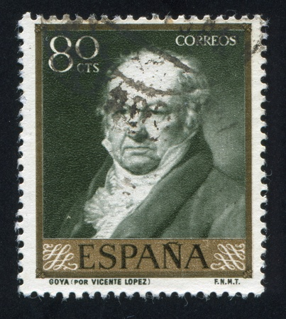 SPAIN - CIRCA 1958: stamp printed by Spain, shows painting of Goya by Vicente Lopez, circa 1958 Stock Photo - 16285107