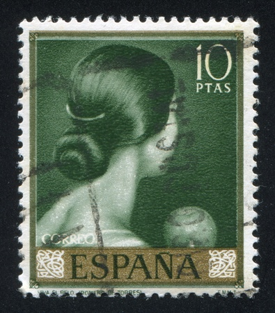 romeo: SPAIN - CIRCA 1965: stamp printed by Spain, shows painting of Back of womans head, circa 1965