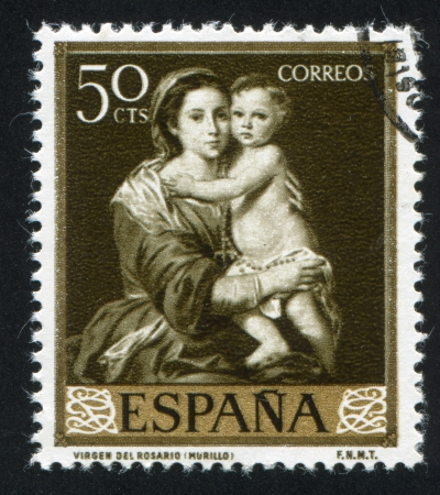 murillo: SPAIN - CIRCA 1960: stamp printed by Spain, shows Virgin of the Rosary by Murillo, circa 1960 Editorial