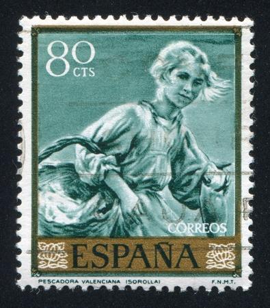 sorolla: SPAIN - CIRCA 1964: stamp printed by Spain, shows Fisherwoman of Valencia by Joaquin Sorolla, circa 1964 Editorial