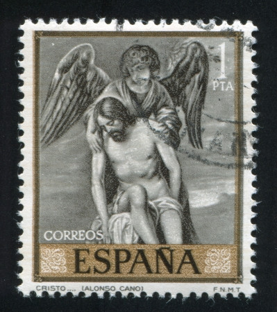 cano: SPAIN - CIRCA 1969: stamp printed by Spain, shows Christ and Angel by Alonso, Cano, circa 1969