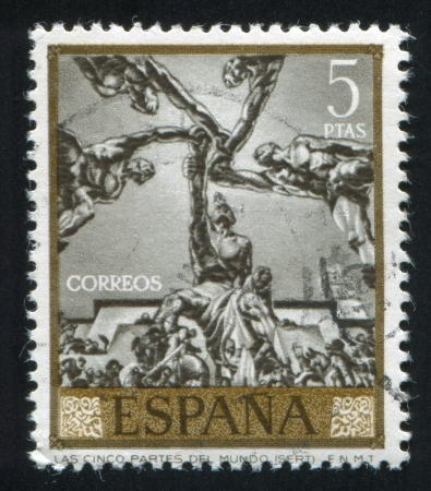 SPAIN - CIRCA 1966: stamp printed by Spain, shows The five parts of the world by Sert, circa 1966