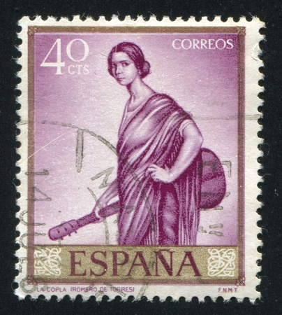 SPAIN - CIRCA 1965: stamp printed by Spain, shows La Copla by Romero de Torres, circa 1965
