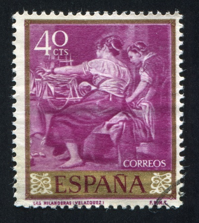 velazquez: SPAIN - CIRCA 1971: stamp printed by Spain, shows Las Hilanderas by Velazquez, circa 1971
