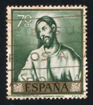 greco: SPAIN - CIRCA 1961: stamp printed by Spain, shows The oration in the garden by El Greco, circa 1961 Editorial