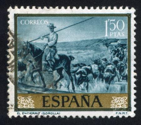 adeptness: SPAIN - CIRCA 1971: stamp printed by Spain, shows Enclosure by Joaquin Sorolla, circa 1971 Editorial