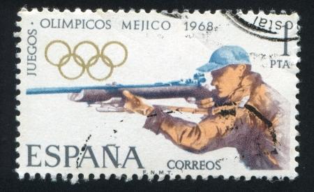 backsight: SPAIN - CIRCA 1968: stamp printed by Spain, shows Rifle Shooting, circa 1968