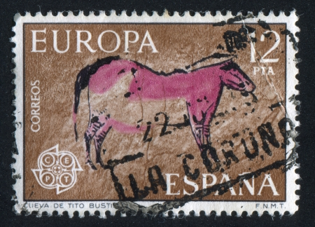 mesolithic: SPAIN - CIRCA  1967: stamp printed by Spain, shows Cow in Cave, circa 1967