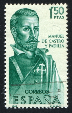 SPAIN - CIRCA 1966: stamp printed by Spain, shows Manuel de Castro y Padilla, circa 1966 Stock Photo - 16285199