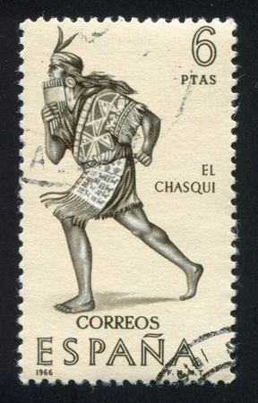 SPAIN - CIRCA 1966: stamp printed by Spain, shows Indian, Courier, circa 1966 Stock Photo - 16285004