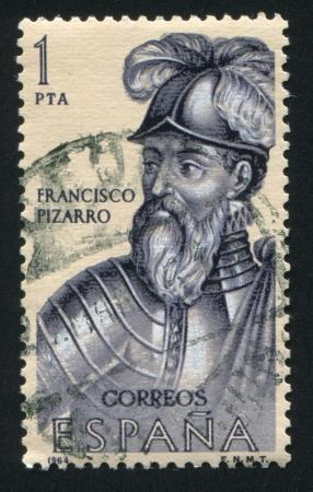 SPAIN - CIRCA 1964: stamp printed by Spain, shows Francisco Pizarro, circa 1964 Stock Photo - 16285222