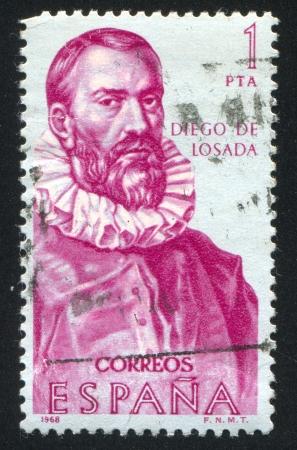 SPAIN - CIRCA 1968: stamp printed by Spain, shows Diego de Losada, circa 1968 Stock Photo - 16285299