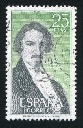 SPAIN - CIRCA 1972: stamp printed by Spain, shows portrait of Jose de Espronceda, circa 1972 Stock Photo - 16285175