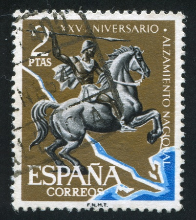 SPAIN - CIRCA 1961: stamp printed by Spain, shows Horseman over Ebro, circa 1961 Stock Photo - 16285048