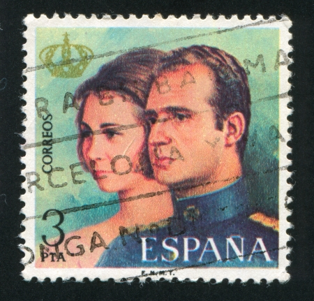 SPAIN - CIRCA 1975: stamp printed by Spain, shows Qween Sofia and King Juan Carlos I, circa 1975 Stock Photo - 16285167