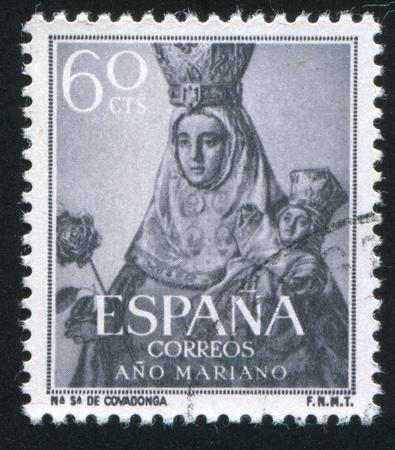 covadonga: SPAIN - CIRCA 1953: stamp printed by Spain, shows Black Virgin of  Covadonga, circa 1953 Editorial