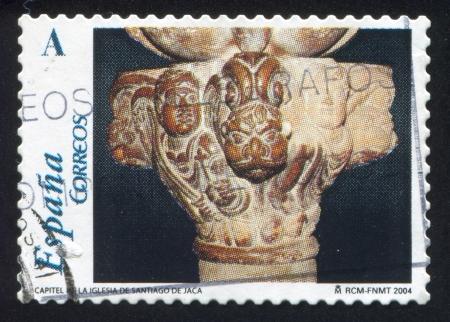 SPAIN - CIRCA 2004: stamp printed by Spain, shows Capital, Church of Santiago de Jaca, circa 2004 Stock Photo - 16285197