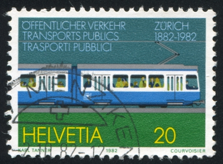 SWITZERLAND - CIRCA 1982: stamp printed by Switzerland, shows Zurich Tram, circa 1982