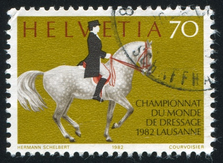 SWITZERLAND - CIRCA 1982: stamp printed by Switzerland, shows World Dressage Championship, Lausanne, circa 1982
