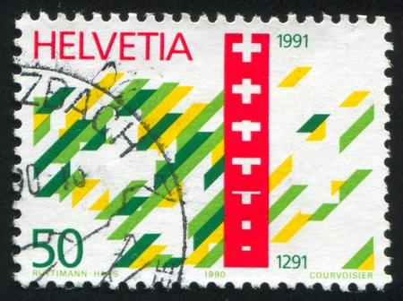 confederation: SVIZZERA - CIRCA 1991: timbro stampato dalla Svizzera, mostra Astrazione Confederazione svizzera, circa 1991