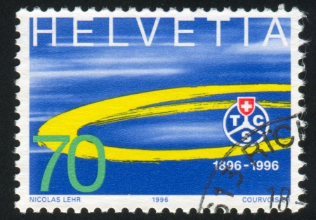 SWITZERLAND - CIRCA 1996: stamp printed by Switzerland, shows Touring Club Suisse Emblem, circa 1996 Stock Photo - 16285018
