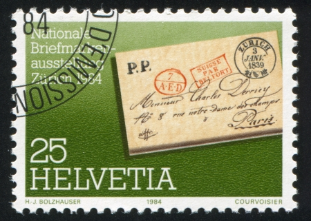 cachet: SWITZERLAND - CIRCA 1984: stamp printed by Switzerland, shows Envelope, circa 1984