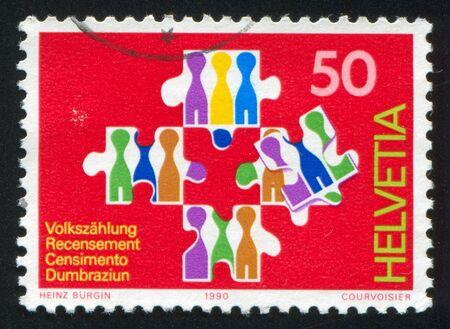 censo: SUIZA - CIRCA 1990: sello impreso por Suiza, muestra del Censo Nacional, alrededor de 1990