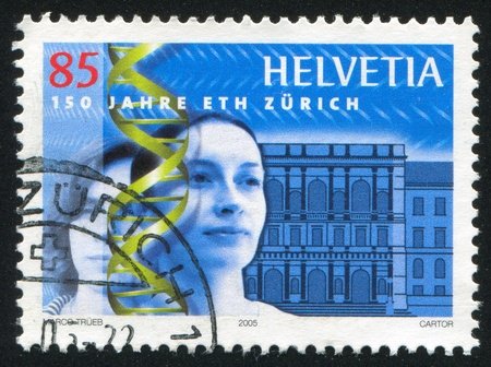 institute of technology: SWITZERLAND - CIRCA 2005: stamp printed by Switzerland, shows Swiss Federal Institute of Technology in Zurich and Portraits of Women, circa 2005 Editorial
