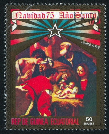isabel: EQUATORIAL GUINEA - CIRCA 1975: stamp printed by Equatorial Guinea, shows Isabel II and People, circa 1975